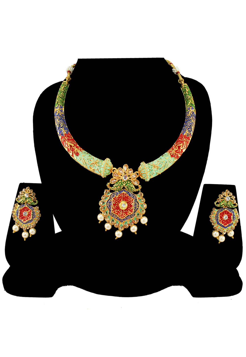 Green Alloy Austrian Diamond Necklace Set With Earrings 197148