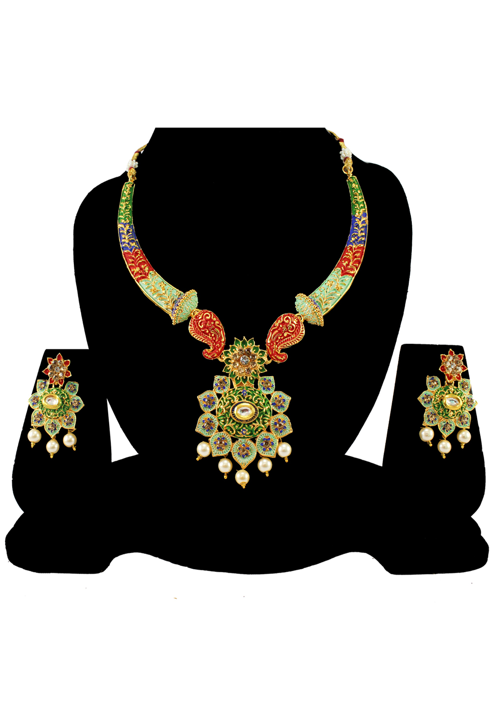 Green Alloy Austrian Diamond Necklace Set With Earrings 197151