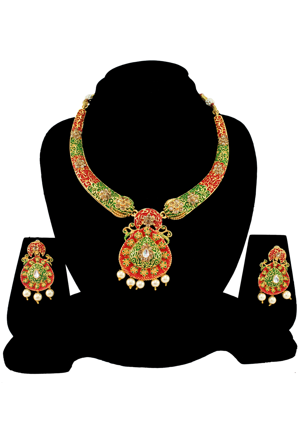 Green Alloy Austrian Diamond Necklace Set With Earrings 197152