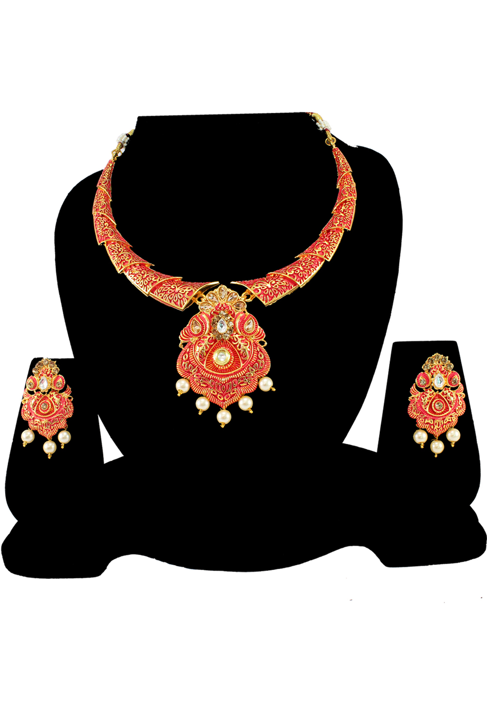 Pink Alloy Austrian Diamond Necklace Set With Earrings 197153