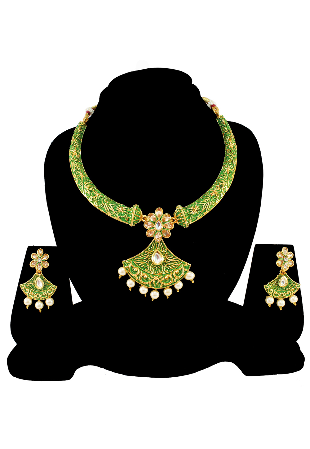 Green Alloy Austrian Diamond Necklace Set With Earrings 197154