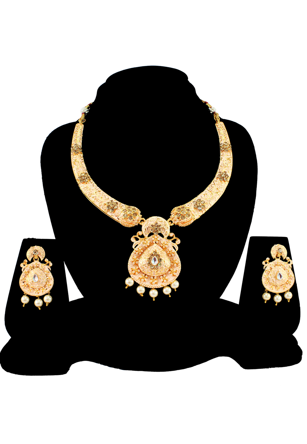 White Alloy Austrian Diamond Necklace Set With Earrings 197155