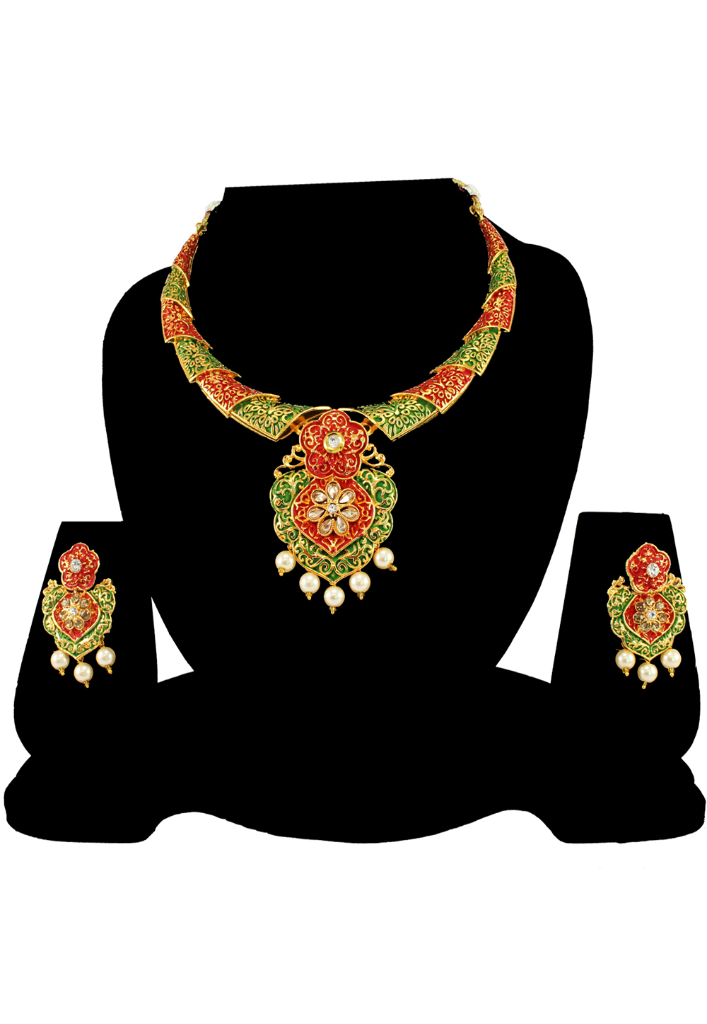 Green Alloy Austrian Diamond Necklace Set With Earrings 197156
