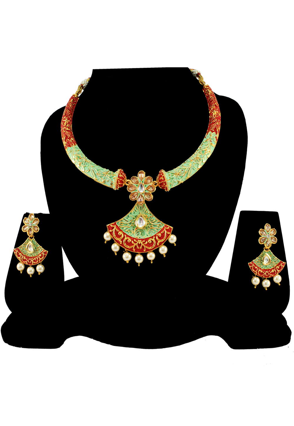 Green Alloy Austrian Diamond Necklace Set With Earrings 197157