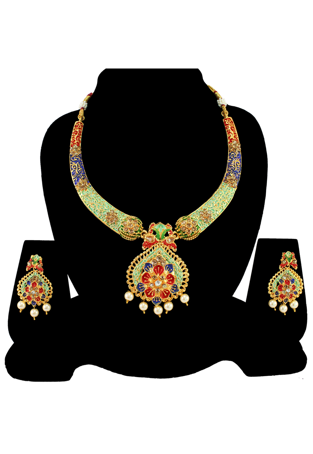 Green Alloy Austrian Diamond Necklace Set With Earrings 197159