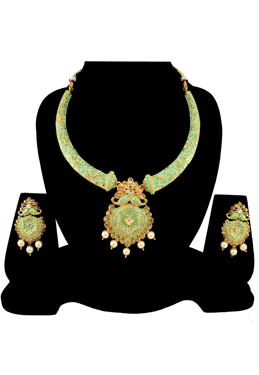 Green Alloy Austrian Diamond Necklace Set With Earrings 197160