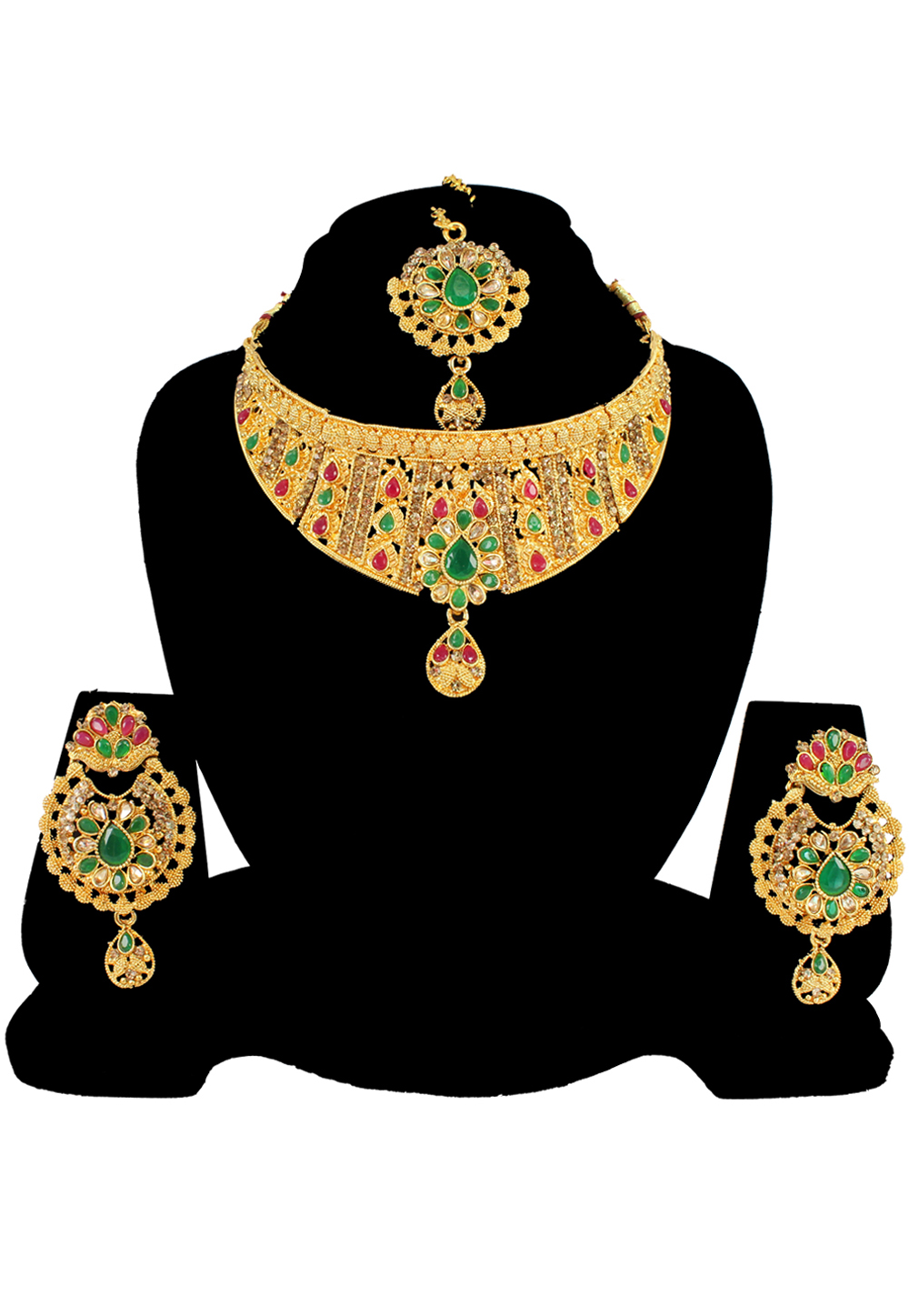 Green Alloy Austrian Diamond Necklace Set With Earrings and Maang Tikka 197161