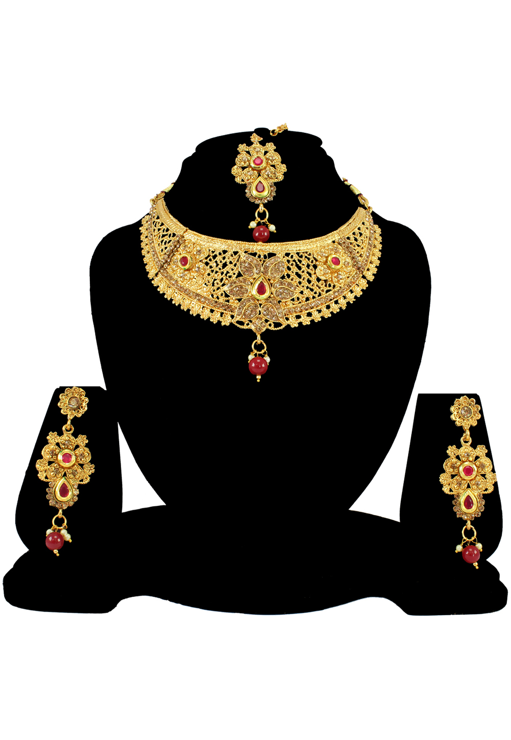 Maroon Alloy Austrian Diamond Necklace Set With Earrings and Maang Tikka 197162
