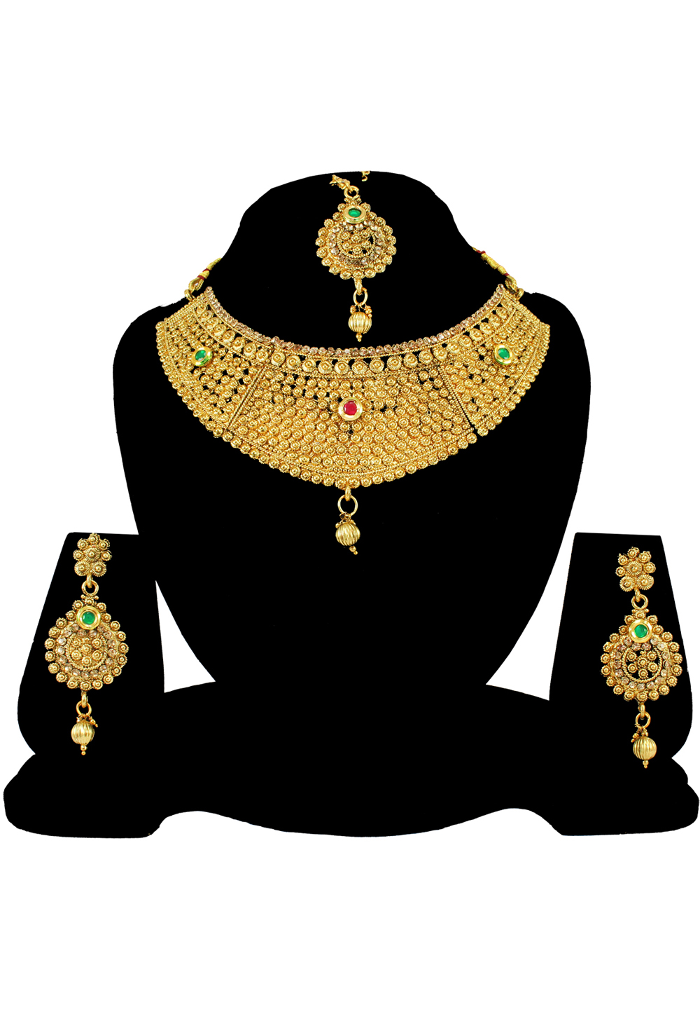 Green Alloy Austrian Diamond Necklace Set With Earrings and Maang Tikka 197163