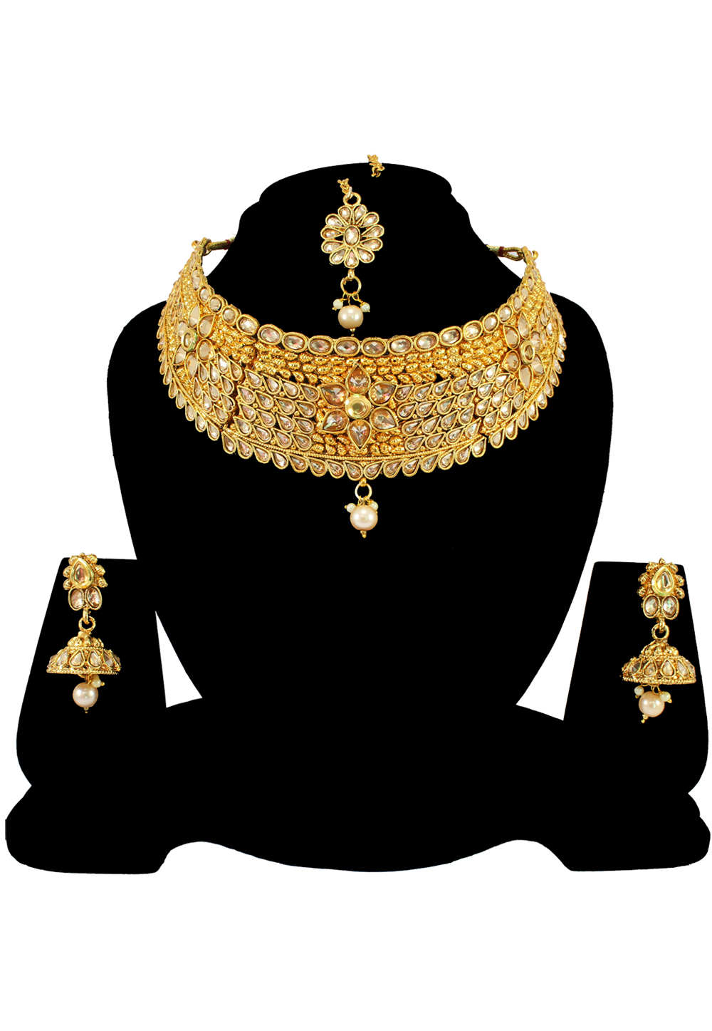 Golden Alloy Austrian Diamond Necklace Set With Earrings and Maang Tikka 197164