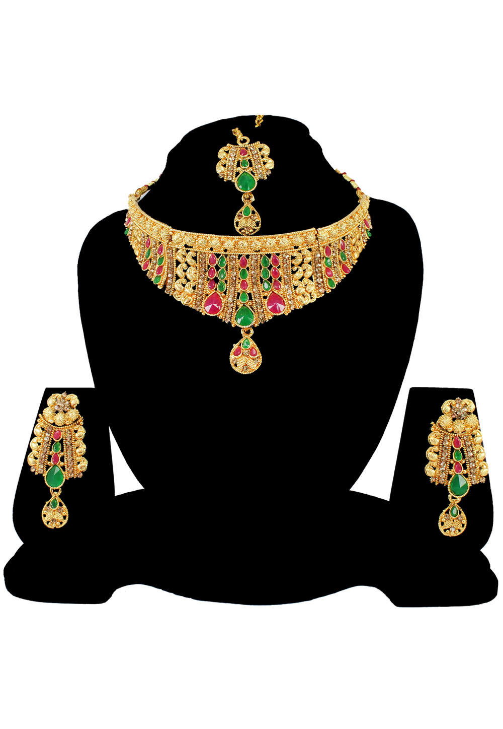 Green Alloy Austrian Diamond Necklace Set With Earrings and Maang Tikka 197166