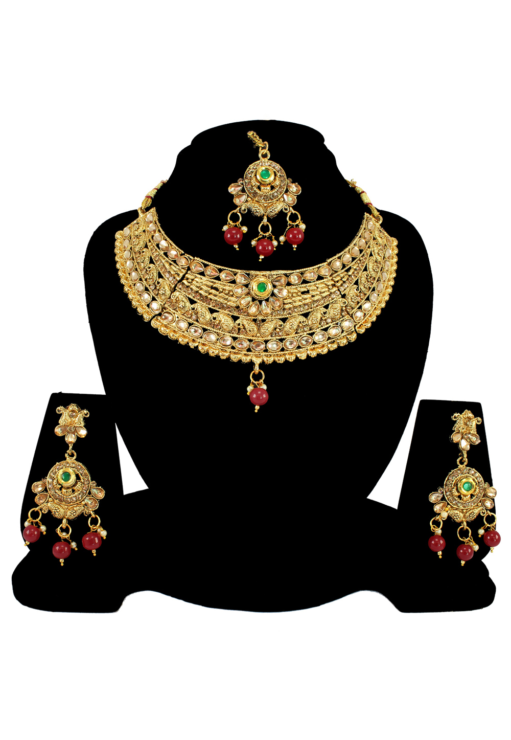 Maroon Alloy Austrian Diamond Necklace Set With Earrings and Maang Tikka 197167