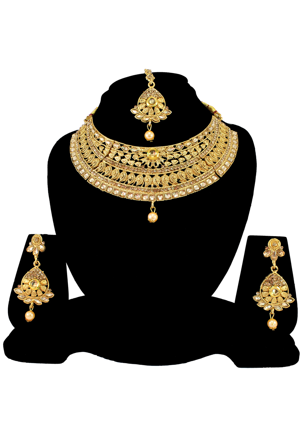 Golden Alloy Austrian Diamond Necklace Set With Earrings and Maang Tikka 197168