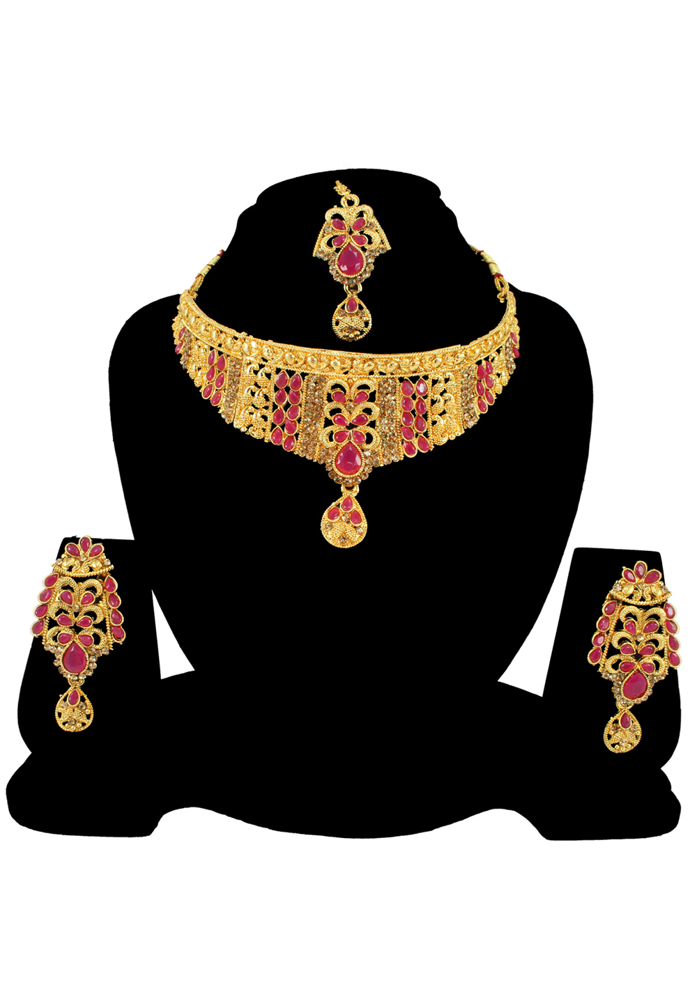 Pink Alloy Austrian Diamond Necklace Set With Earrings and Maang Tikka 197169