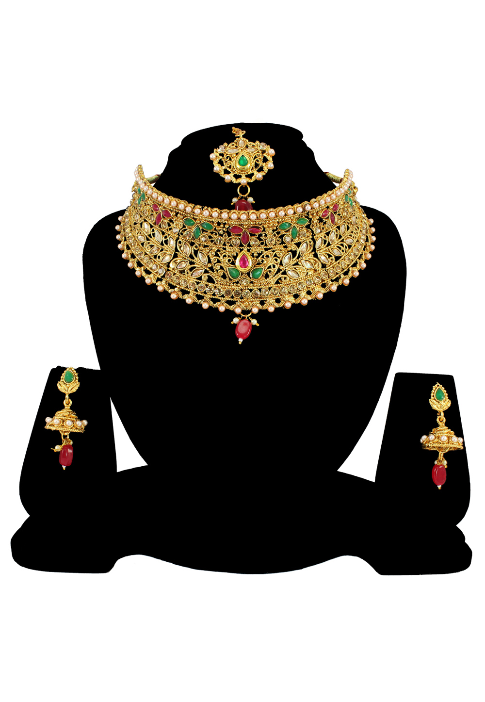 Green Alloy Austrian Diamond Necklace Set With Earrings and Maang Tikka 197170