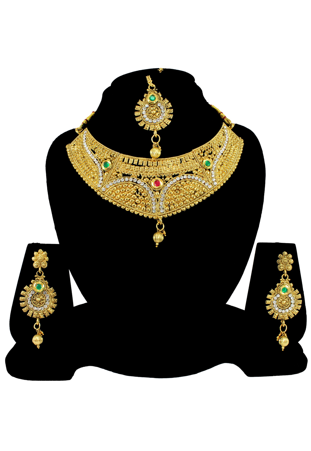 White Alloy Austrian Diamond Necklace Set With Earrings and Maang Tikka 197171