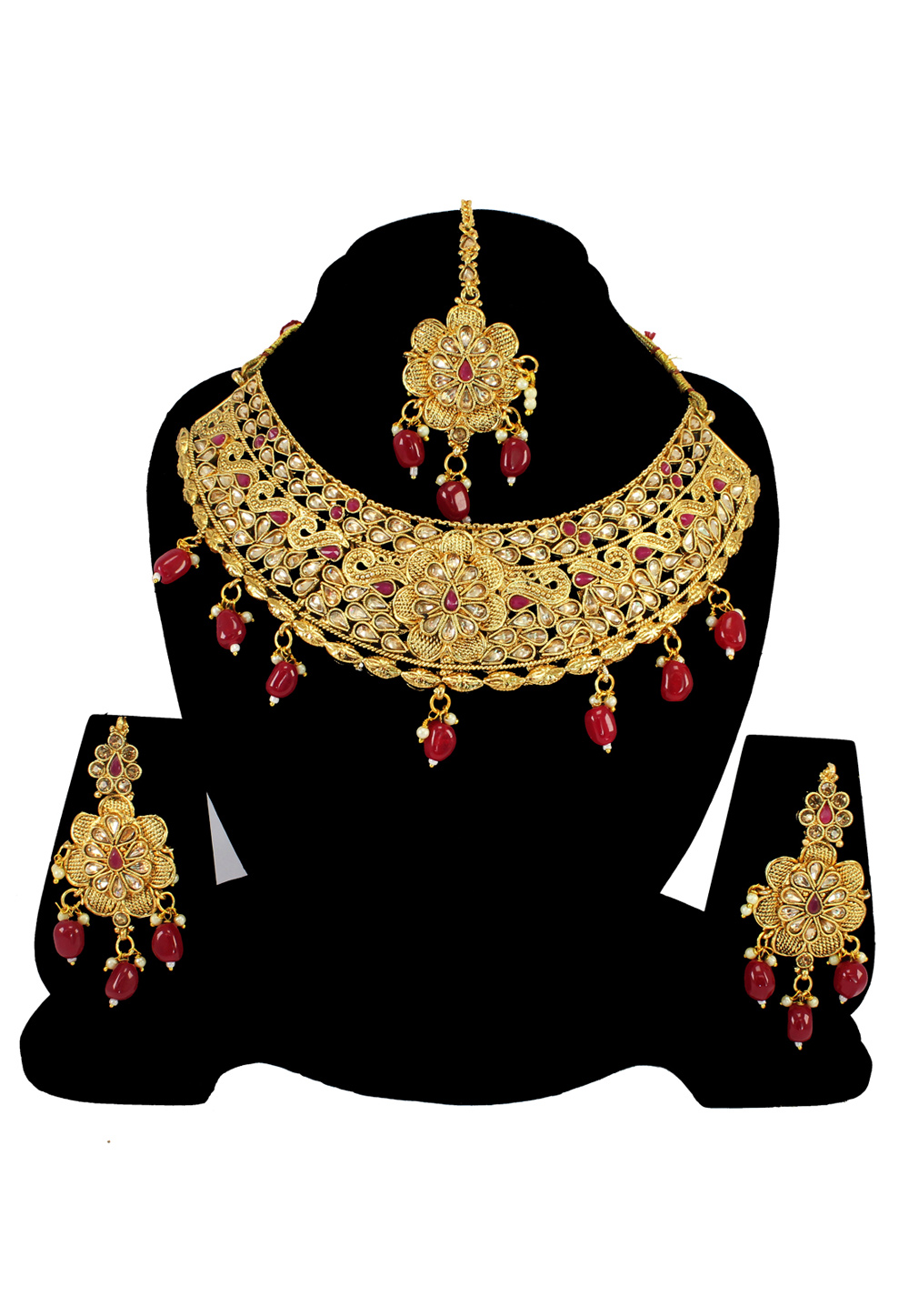 Maroon Alloy Austrian Diamond Necklace Set With Earrings and Maang Tikka 197172