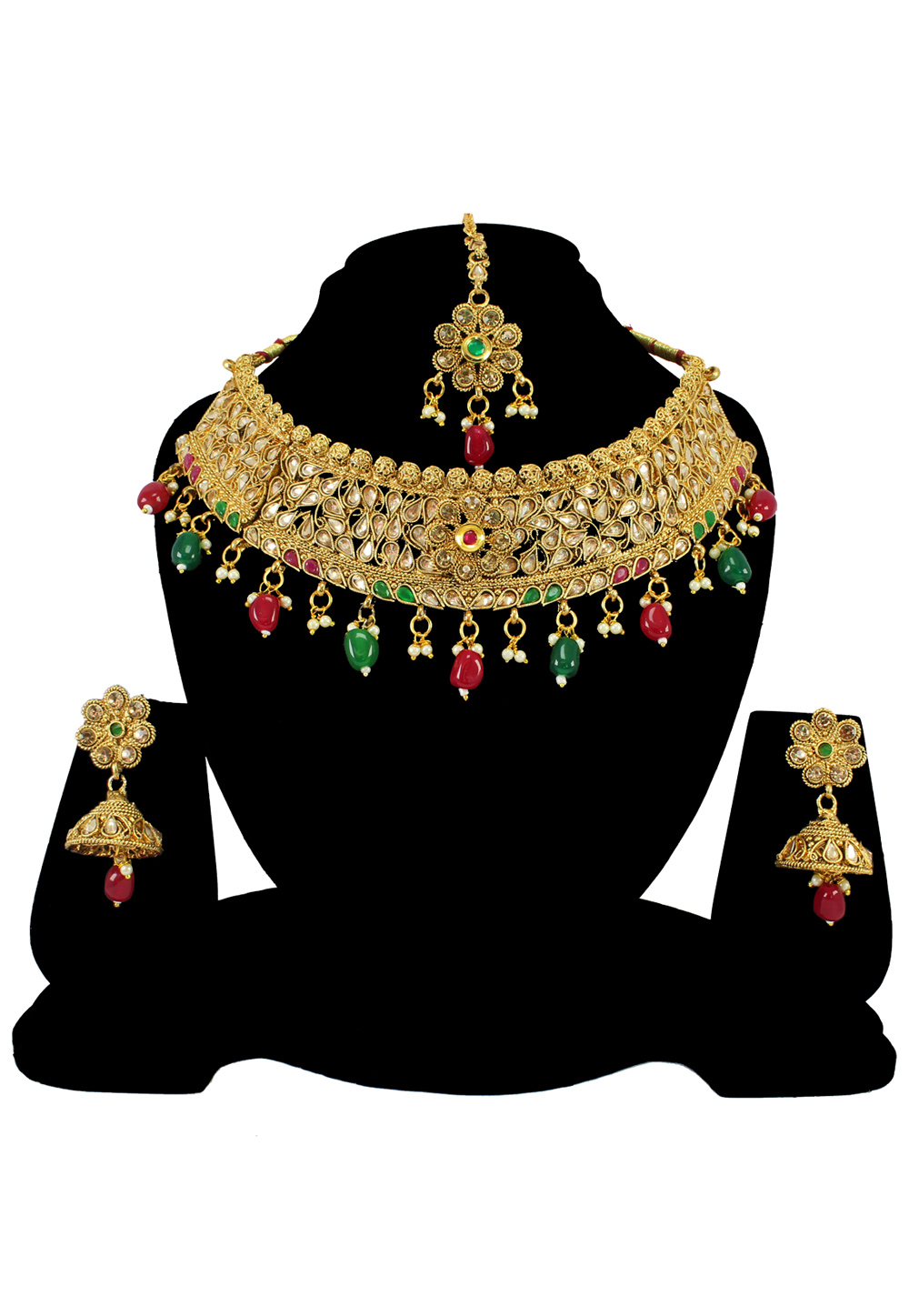 Green Alloy Austrian Diamond Necklace Set With Earrings and Maang Tikka 197173