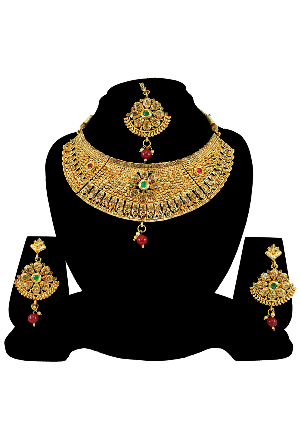 Maroon Alloy Austrian Diamond Necklace Set With Earrings and Maang Tikka 197174