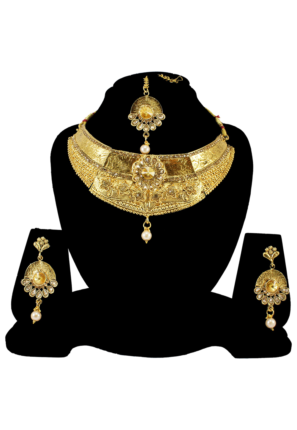 Brown Alloy Austrian Diamond Necklace Set With Earrings and Maang Tikka 197175