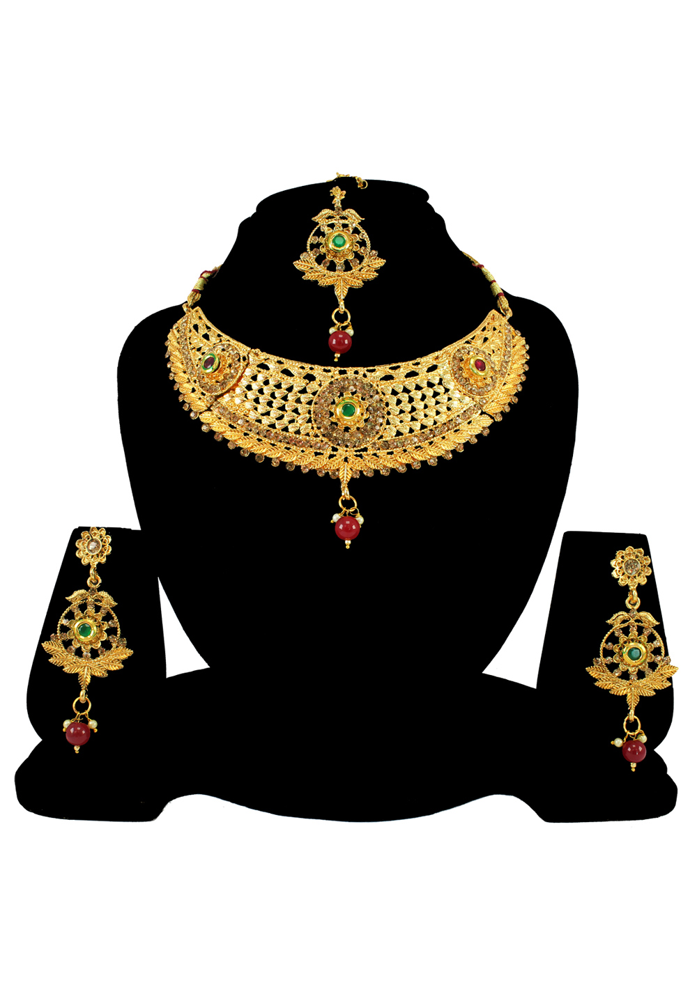 Maroon Alloy Austrian Diamond Necklace Set With Earrings and Maang Tikka 197176