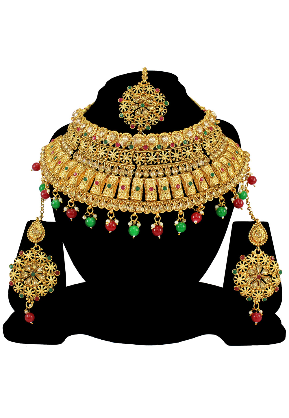 Green Alloy Austrian Diamond Necklace Set With Earrings and Maang Tikka 197185