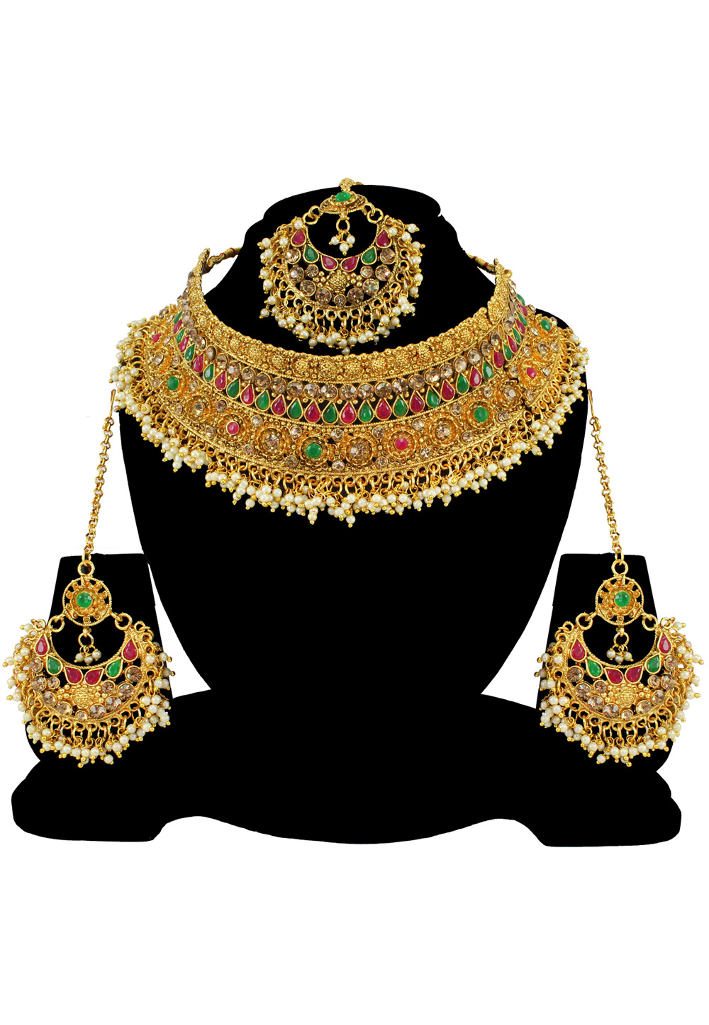 Green Alloy Austrian Diamond Necklace Set With Earrings and Maang Tikka 197186