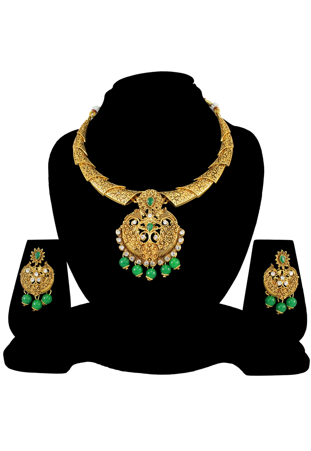 Green Alloy Austrian Diamond Necklace Set With Earrings 197187