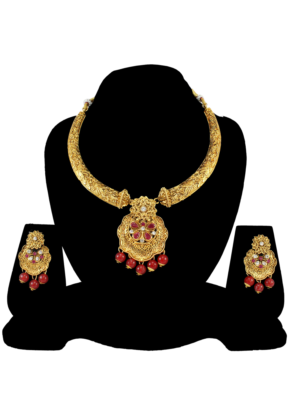Maroon Alloy Austrian Diamond Necklace Set With Earrings 197189