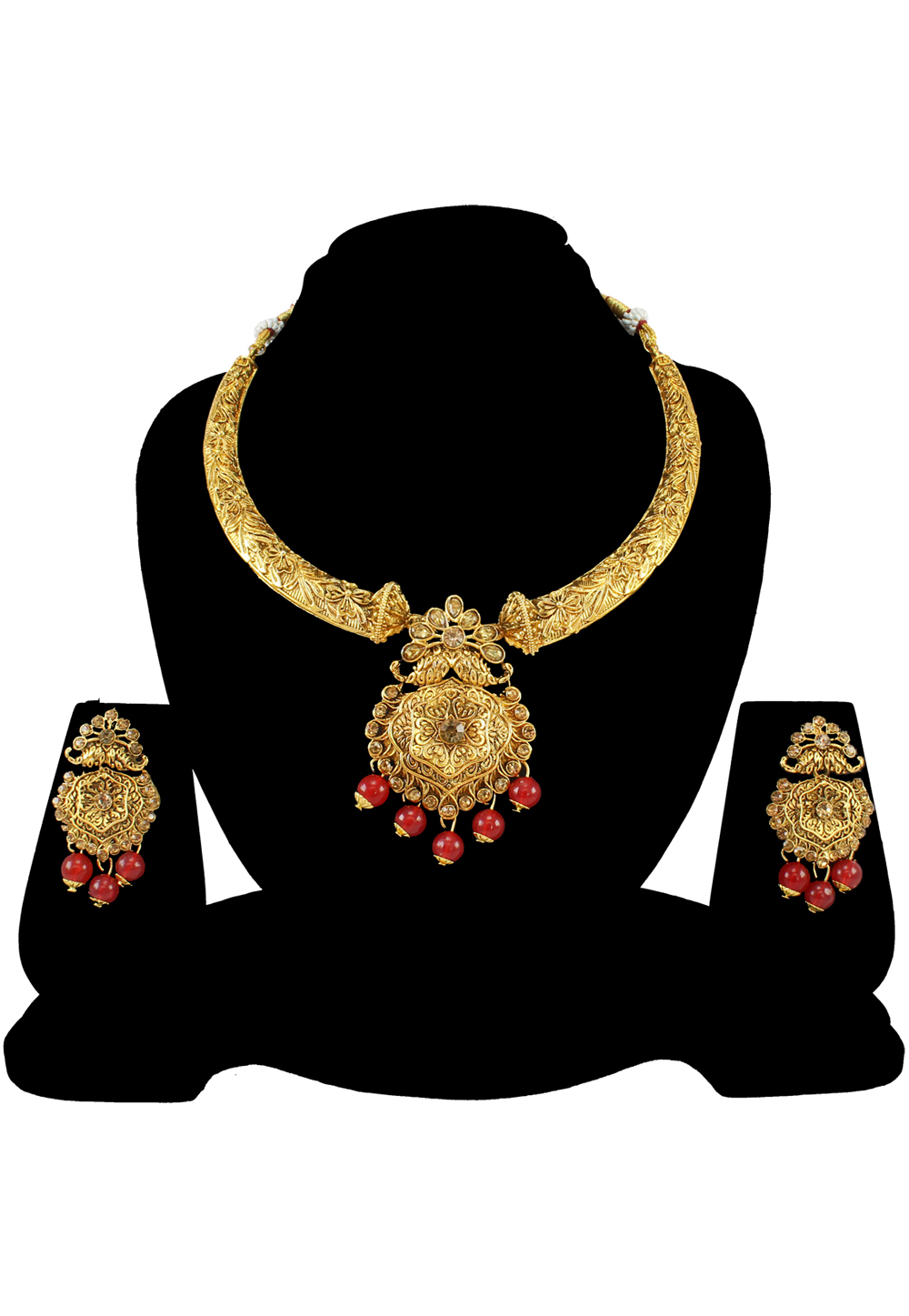 Maroon Alloy Austrian Diamond Necklace Set With Earrings 197190