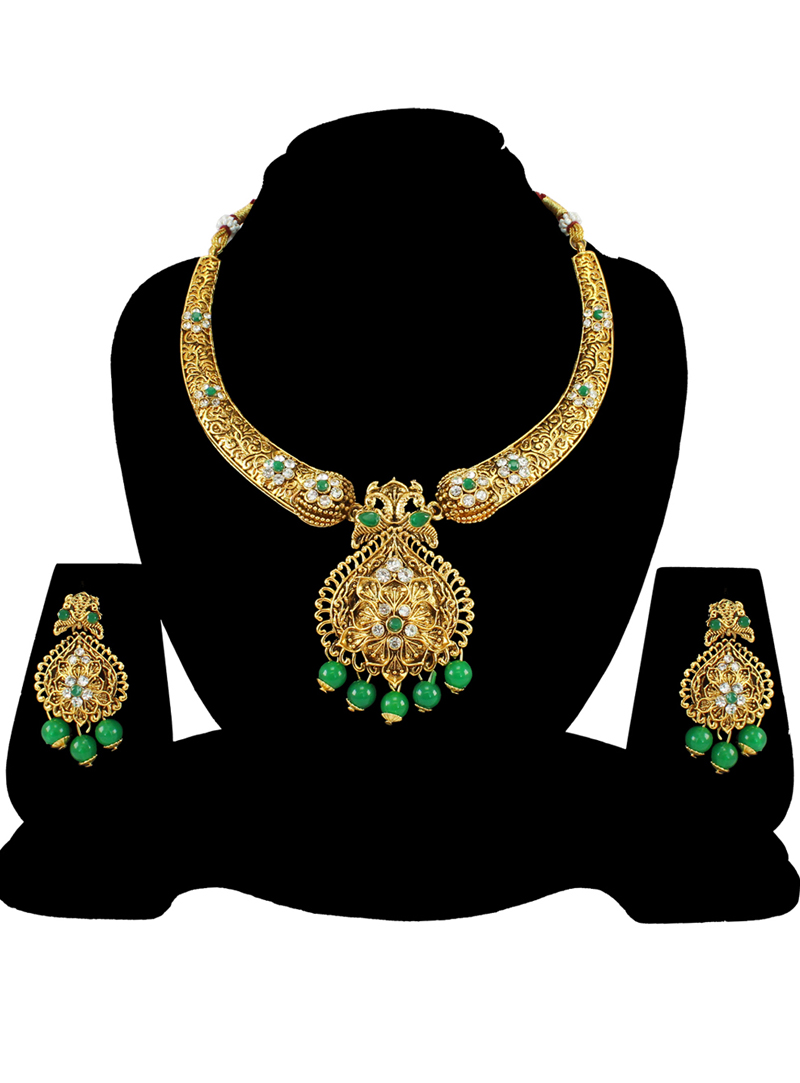 Green Alloy Austrian Diamond Necklace Set With Earrings 197191