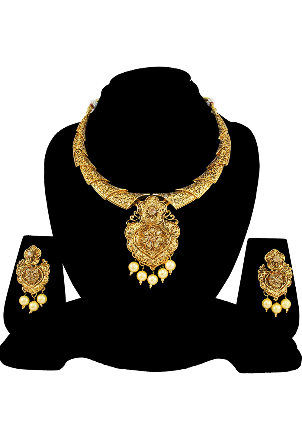 Brown Alloy Austrian Diamond Necklace Set With Earrings 197192