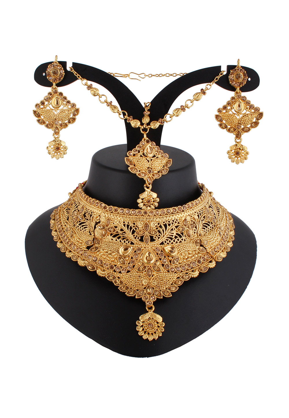 Golden Alloy Austrian Diamond Necklace Set With Earrings and Maang Tikka 220241