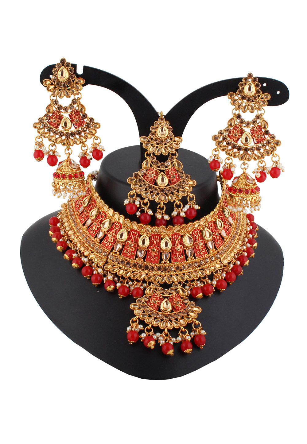 Red Alloy Austrian Diamond Necklace Set With Earrings and Maang Tikka 220267