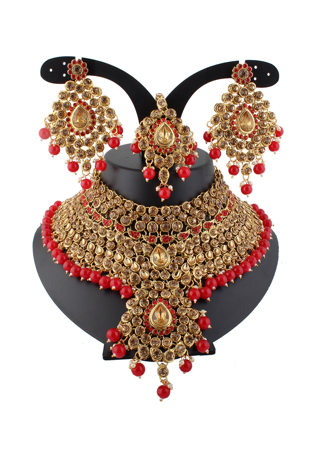 Red Alloy Austrian Diamond Necklace Set With Earrings and Maang Tikka 220269