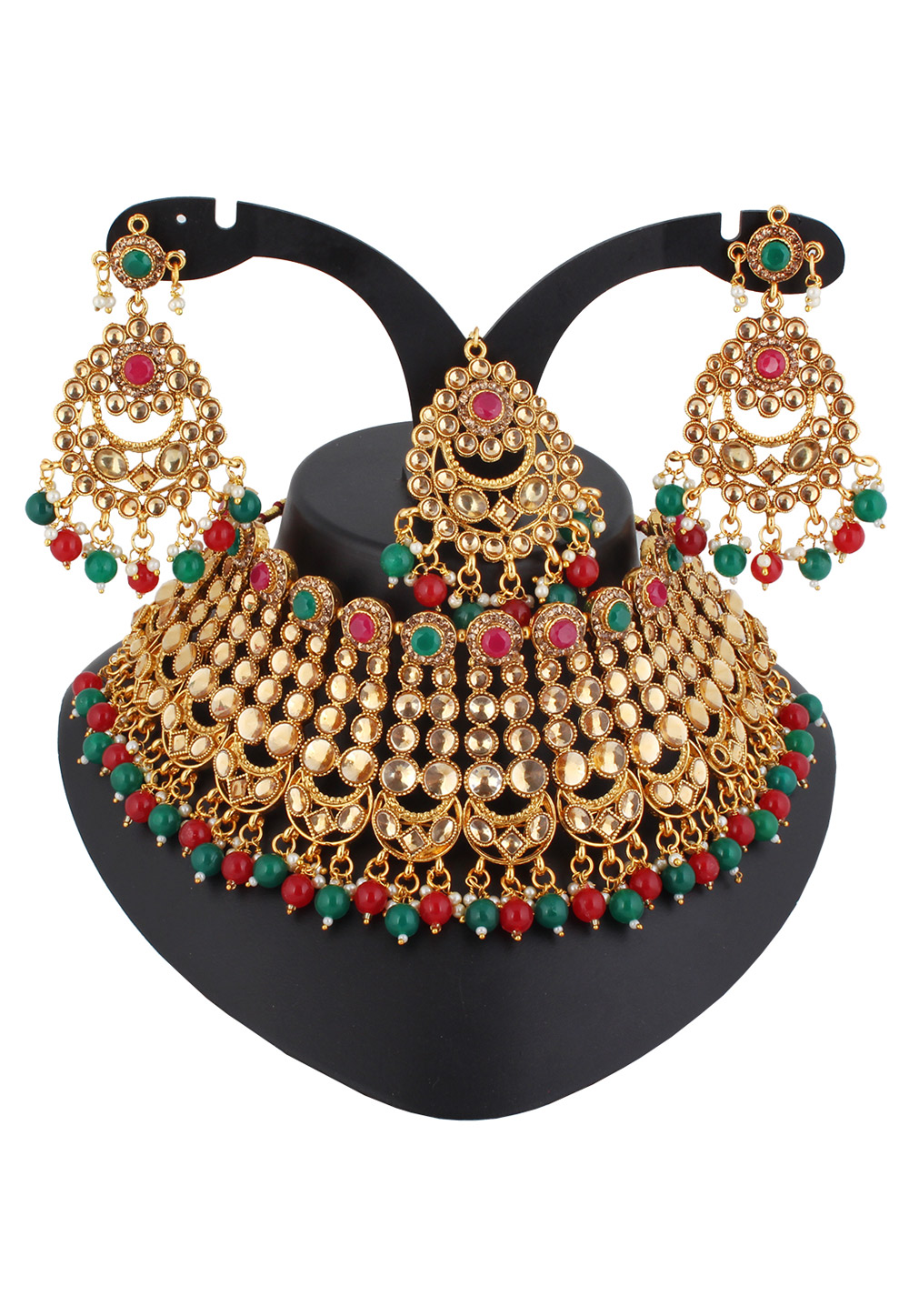 Red Alloy Austrian Diamond Necklace Set With Earrings and Maang Tikka 220280