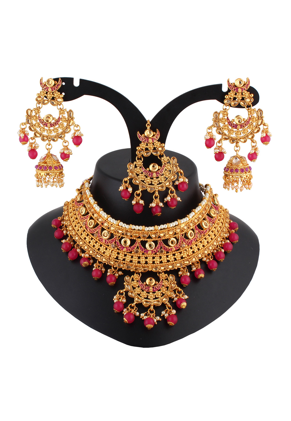 Pink Alloy Austrian Diamond Necklace Set With Earrings and Maang Tikka 223788