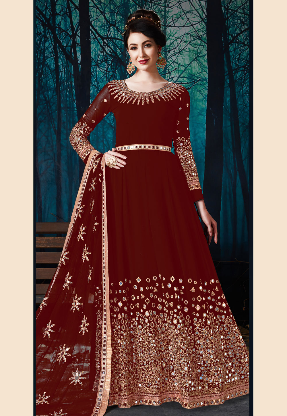 Maroon Faux Georgette Embroidered Long Anarkali Suit 177649