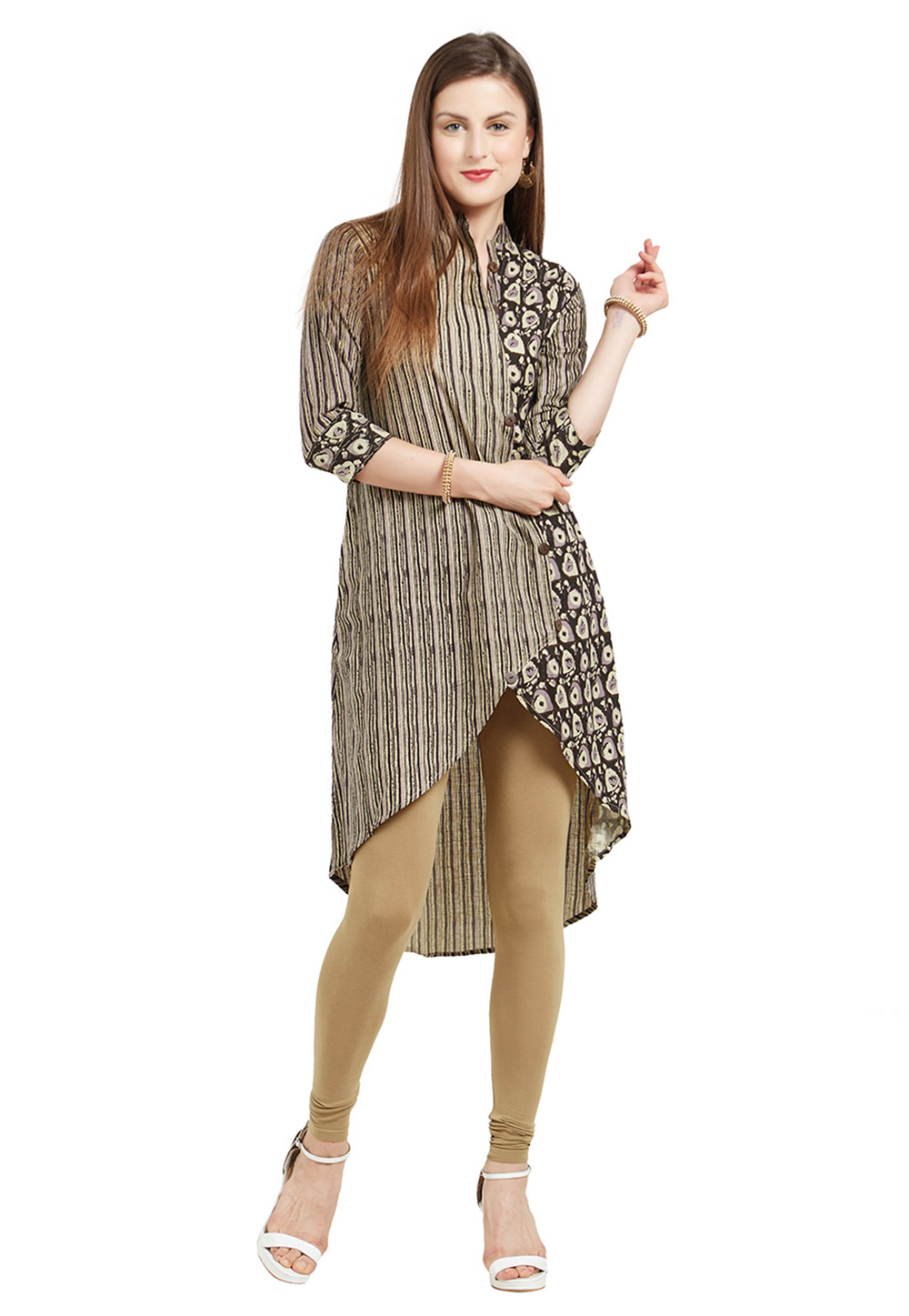 Brown Cotton Readymade Asymmetrical Kurti 206280