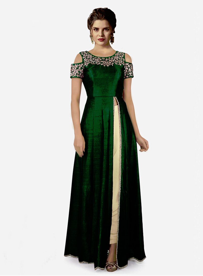 Green Raw Silk Side Slit Pant Style Suit 153206
