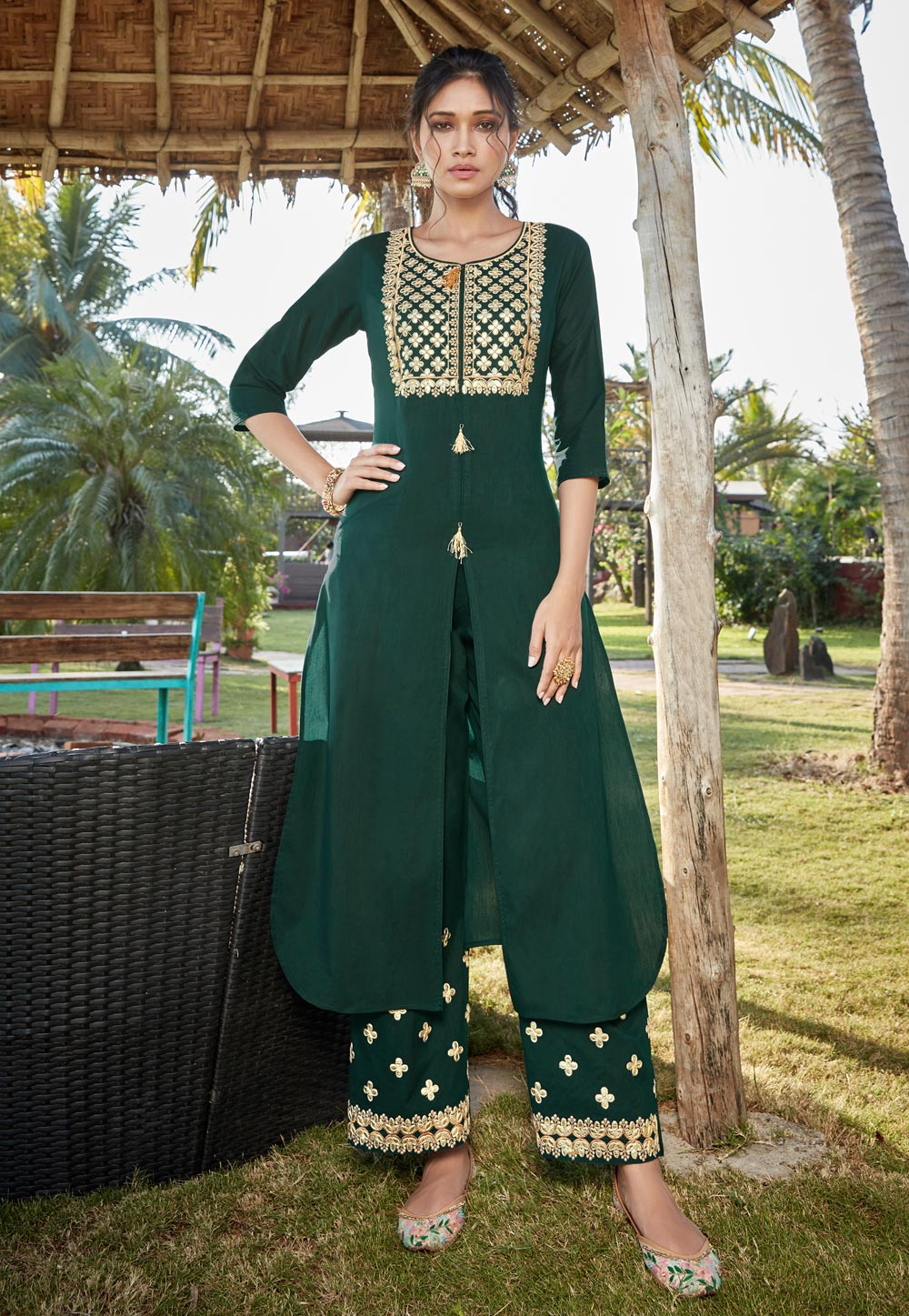 Green Cotton Readymade Palazzo Suit 196246