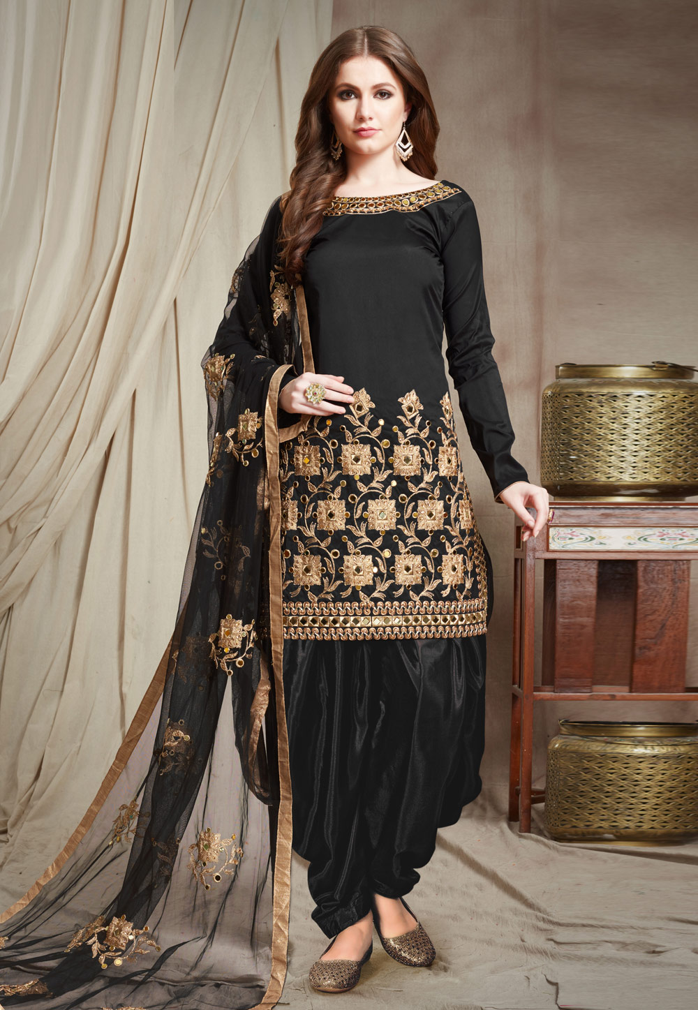 Black Faux Georgette Punjabi Suit 184109