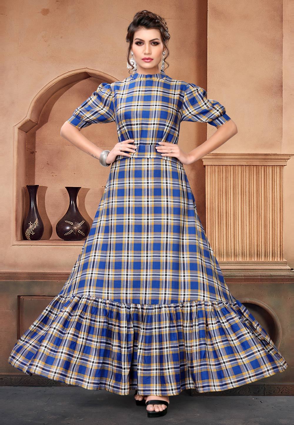 Blue Cotton Readymade Gown 166894
