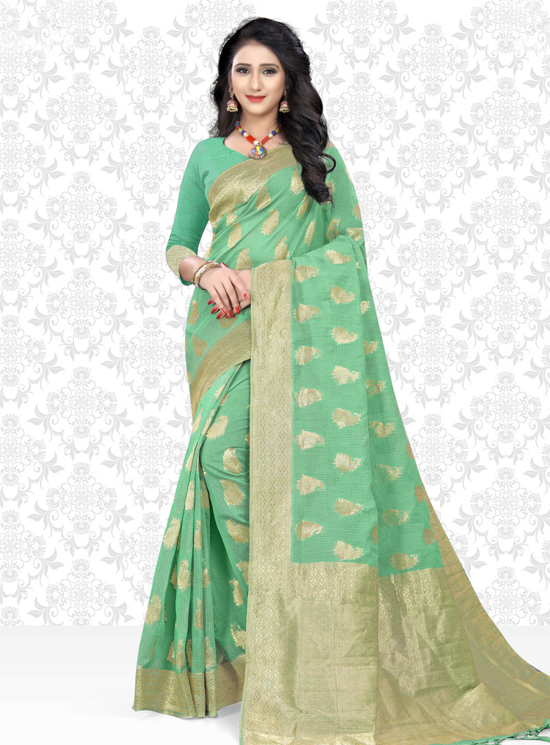Sea Green Net Saree With Blouse 153427