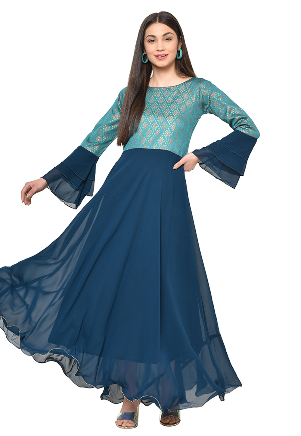 Blue Georgette Flared Gown 207347