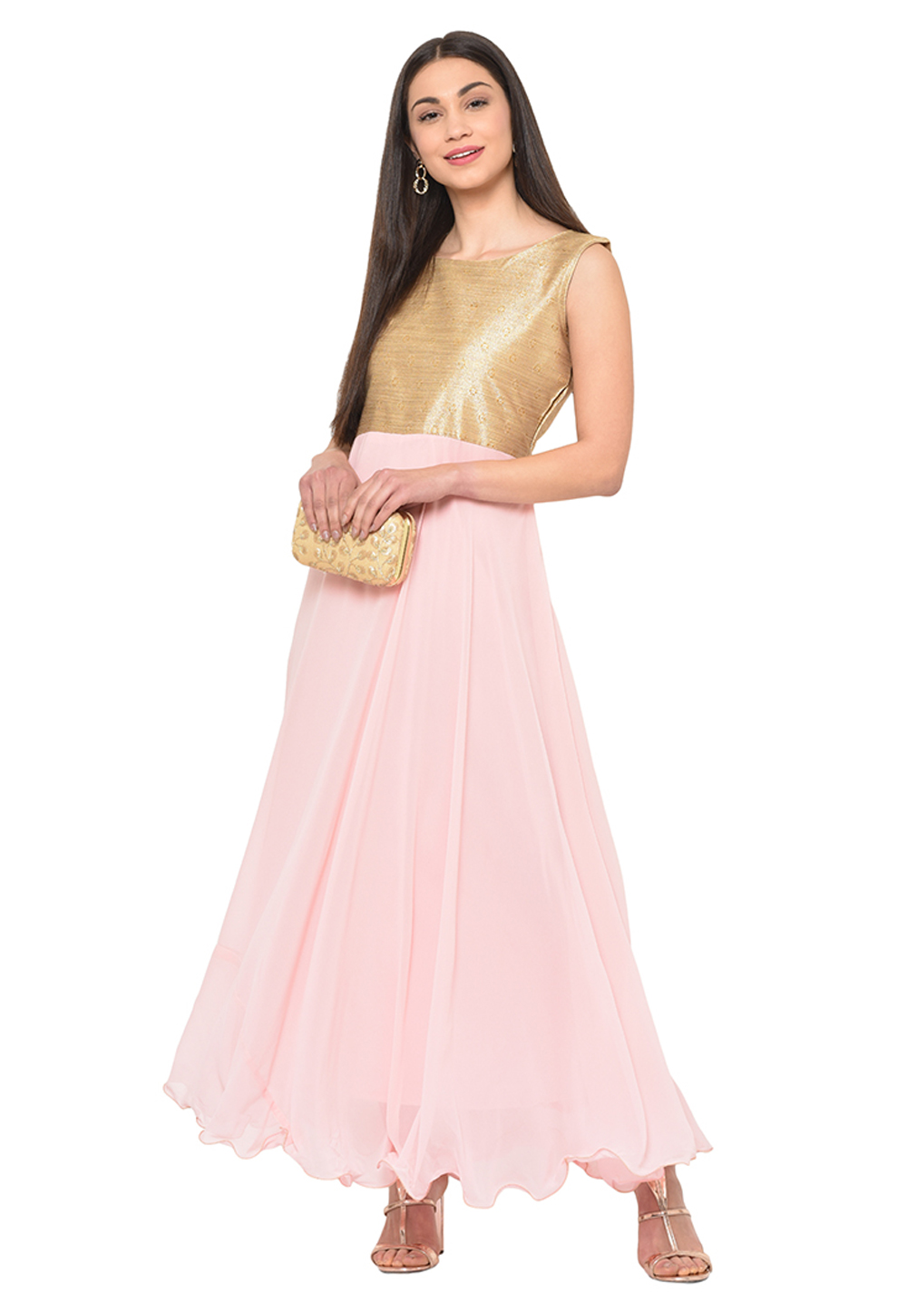 Light Pink Georgette Party Wear Gown 207348