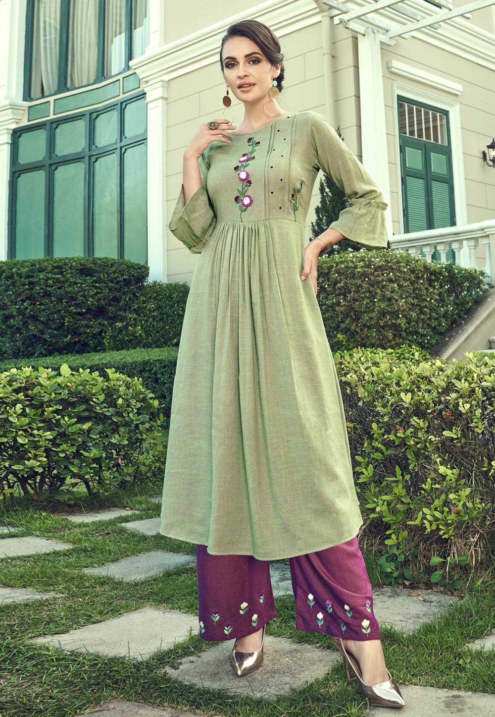 Light Green Cotton Readymade Kameez With Palazzo 198666