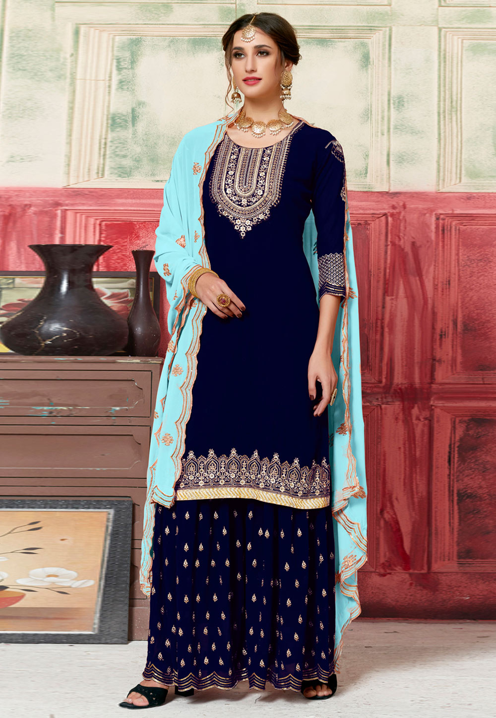 Blue Georgette Embroidered Sharara Suit 182742