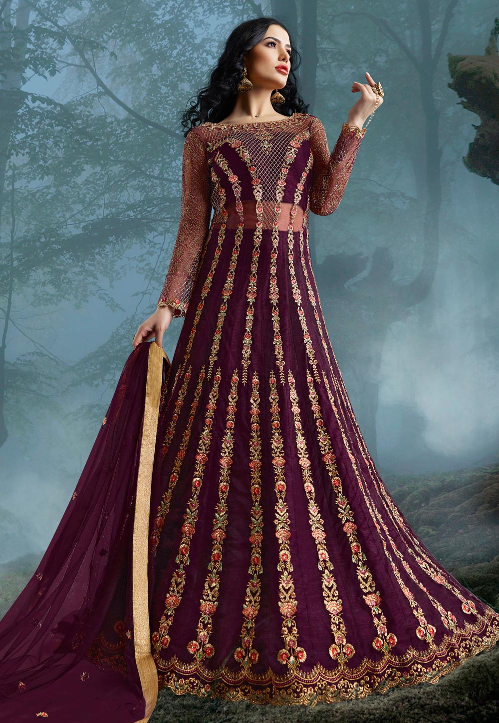 Purple Net Embroidered Floor Length Anarkali Suit 195934