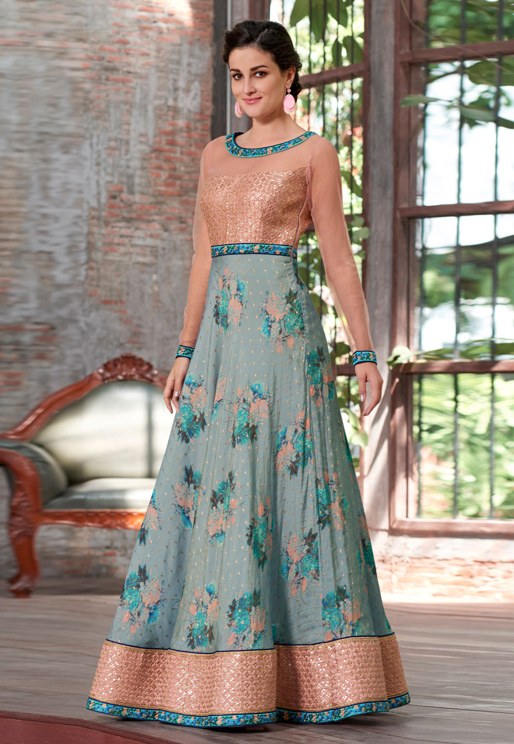 Grey Silk Embroidered Gown 163814